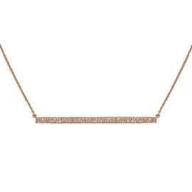 14k Rose Gold Long Bar ID Diamond Necklace