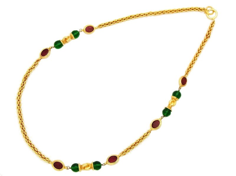 "Image of ""Chanel CC Logo Gold Tone Metal Chain Red Green Glass Stones Necklace"""