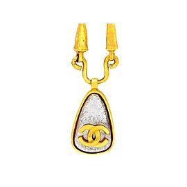 Chanel CC Logo Gold Tone Metal Clear Plastic Stone Necklace