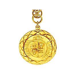 Chanel CC Logo Gold Tone Metal Necklace