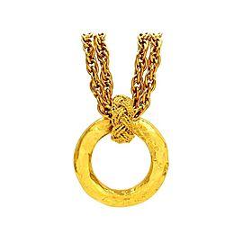 Chanel CC Logo Gold Tone Metal Hoop Dangle Necklace