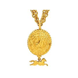 Chanel CC Logo Gold Tone Metal Horse Dangle Necklace