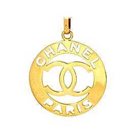 Chanel CC Logo Gold Tone Metal Huge Pendant Necklace