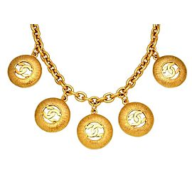 Chanel CC Logo Gold Tone Metal Five Round Necklace