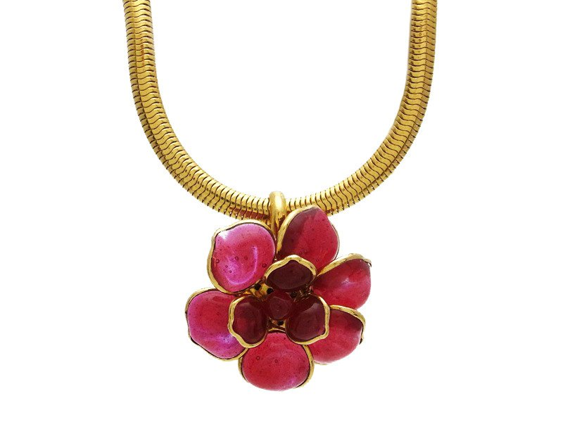 "Image of ""Chanel CC Logo Gold Tone Metal Camellia Pink Gripoix Glass Necklace"""