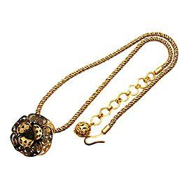 Chanel CC Logo Gold Tone Metal Flower Rhinestone Necklace CC Logo