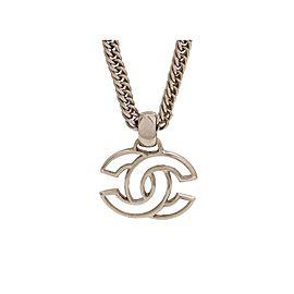 Chanel CC Logo Silver Tone Metal Necklace