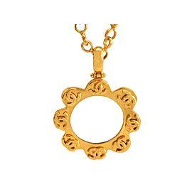 Chanel CC Logo Gold Tone Metal Flower Loupe Necklace CC Logo