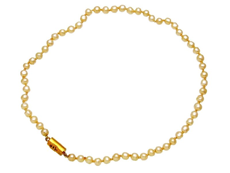 "Image of ""Chanel CC Logo Gold Tone Metal Pearl Necklace"""
