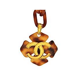 Chanel CC Logo Gold Tone Metal Plastic Tortoiseshell Chain Necklace