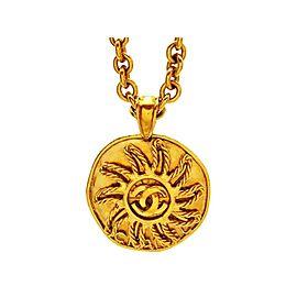 Chanel CC Logo Gold Tone Metal Sun Round Necklace