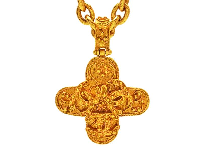 """Image of """"Chanel Triple Gold Tone Metal Cross Necklace"""""""