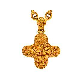 Chanel Triple Gold Tone Metal Cross Necklace