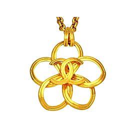 Chanel CC Logo Gold Tone Metal Flower Necklace