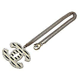 Chanel CC Logo Gold Tone Metal Rhinestone Necklace