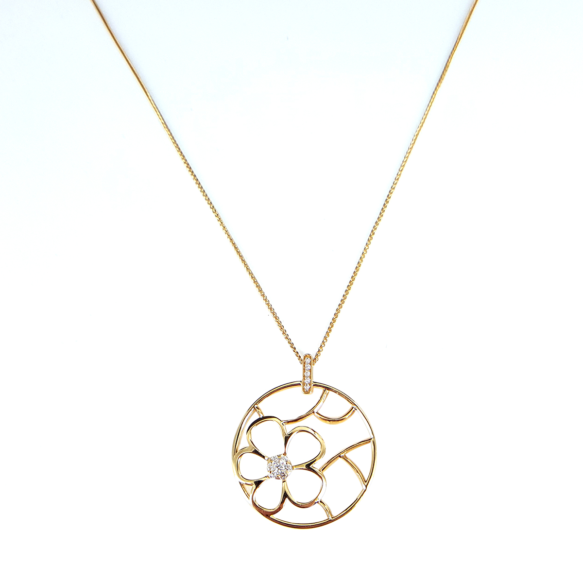 "Image of ""14K Yellow Gold Round Flower 0.20ct. Diamond Pendant Necklace"""