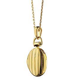 Monica Rich Kosann Yellow Gold Petite Pinstripe Locket on a 17