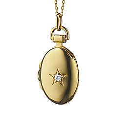 Monica Rich Kosann Yellow Gold Petite Oval Star Necklace