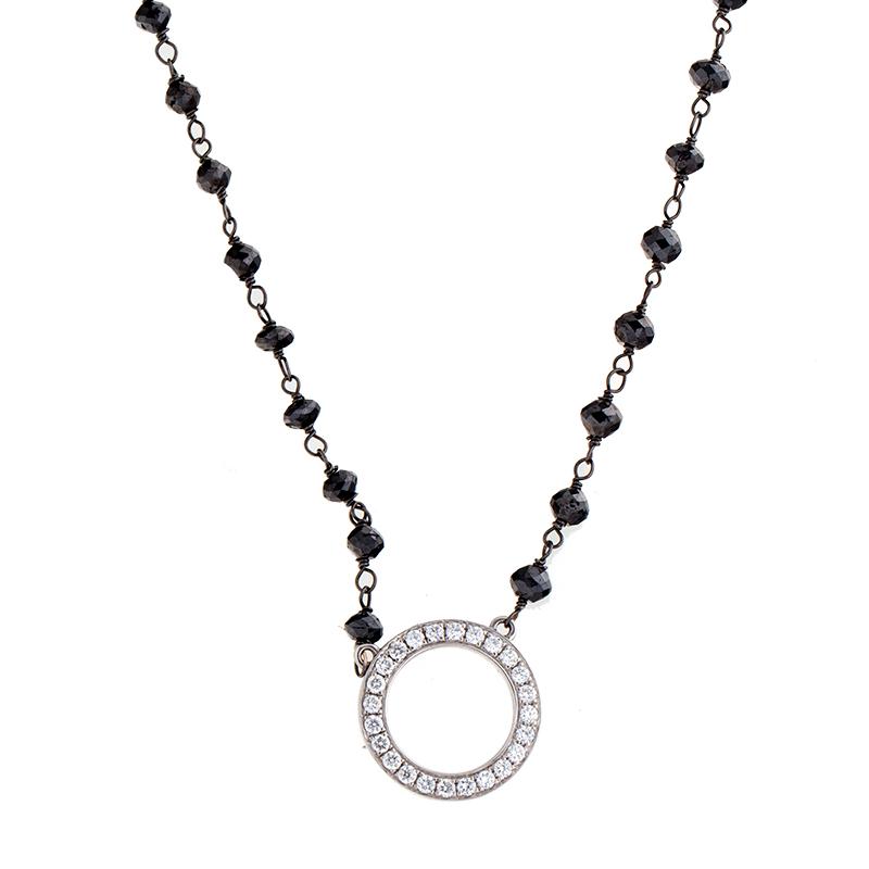 """Image of """"Rina Limor Diamond Circle & Black Diamond Necklace"""""""