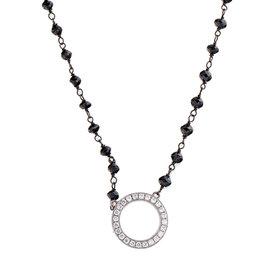 Rina Limor Diamond Circle & Black Diamond Necklace