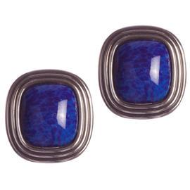 Christian Dior Square Faux Lapis Lazuli Murano Glass Earrings