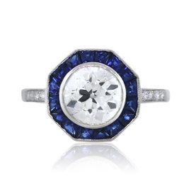 Platinum 1.76ctw Diamond and 0.86ct Sapphire Engagement Ring Size 6.5