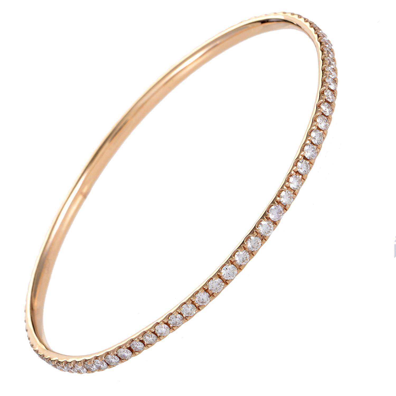 """Image of """"Odelia 18K Rose Gold Diamond Pave Bangle Bracelet"""""""