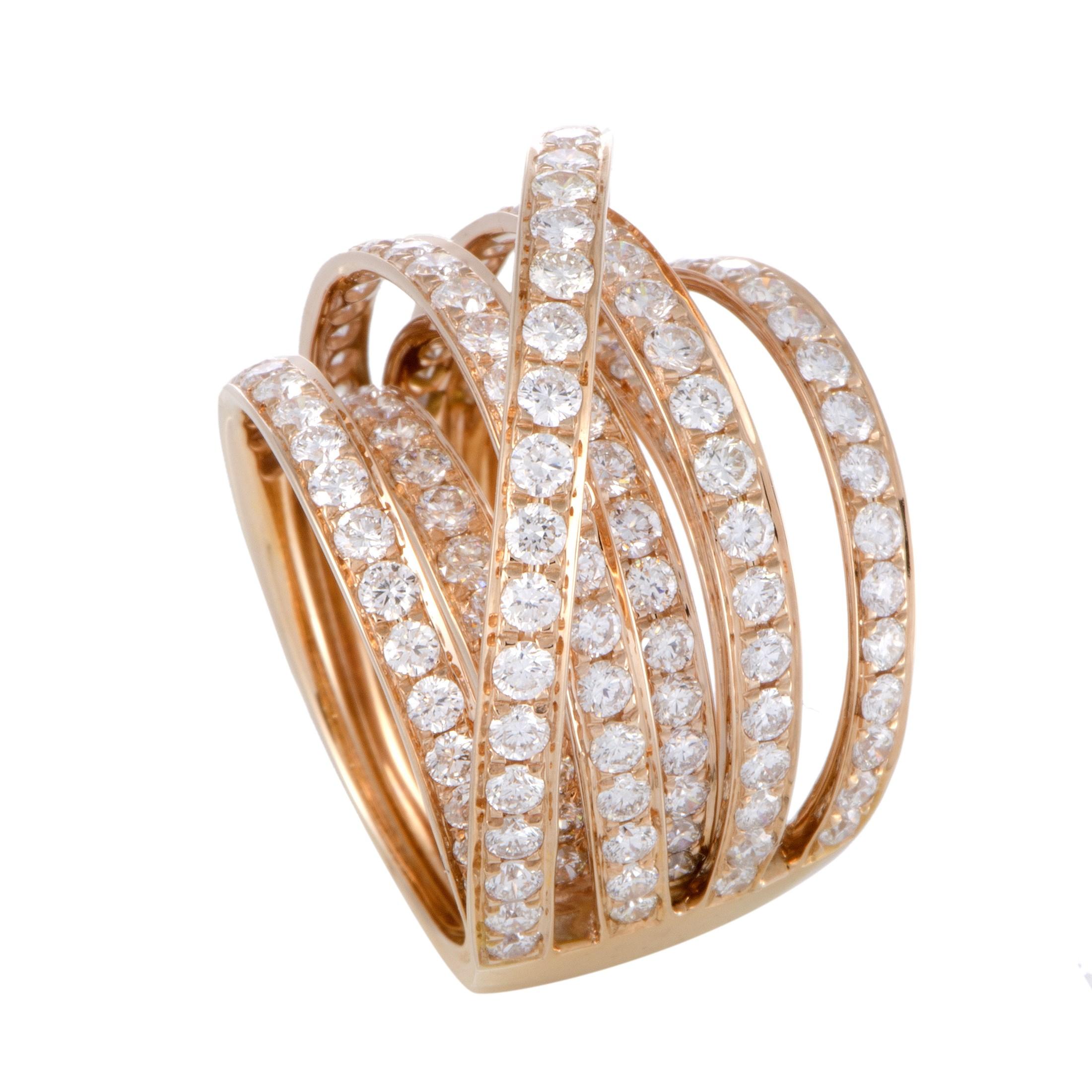 "Image of ""Odelia 18K Rose Gold Diamond Band Ring Size 6.25"""