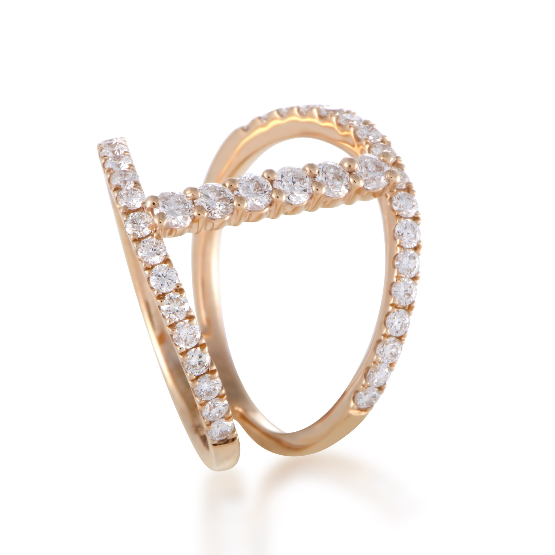 "Image of ""Odelia 18K Rose Gold Diamond Band Ring Size 6"""