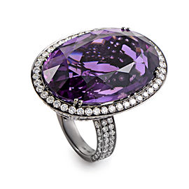 Odelia 18K White Gold Amethyst & Diamond Cocktail Ring