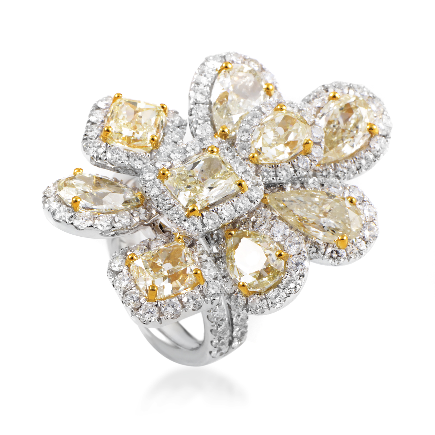 "Image of ""Odelia 18K Multi-Tone Gold Diamond Cluster Cocktail Ring"""