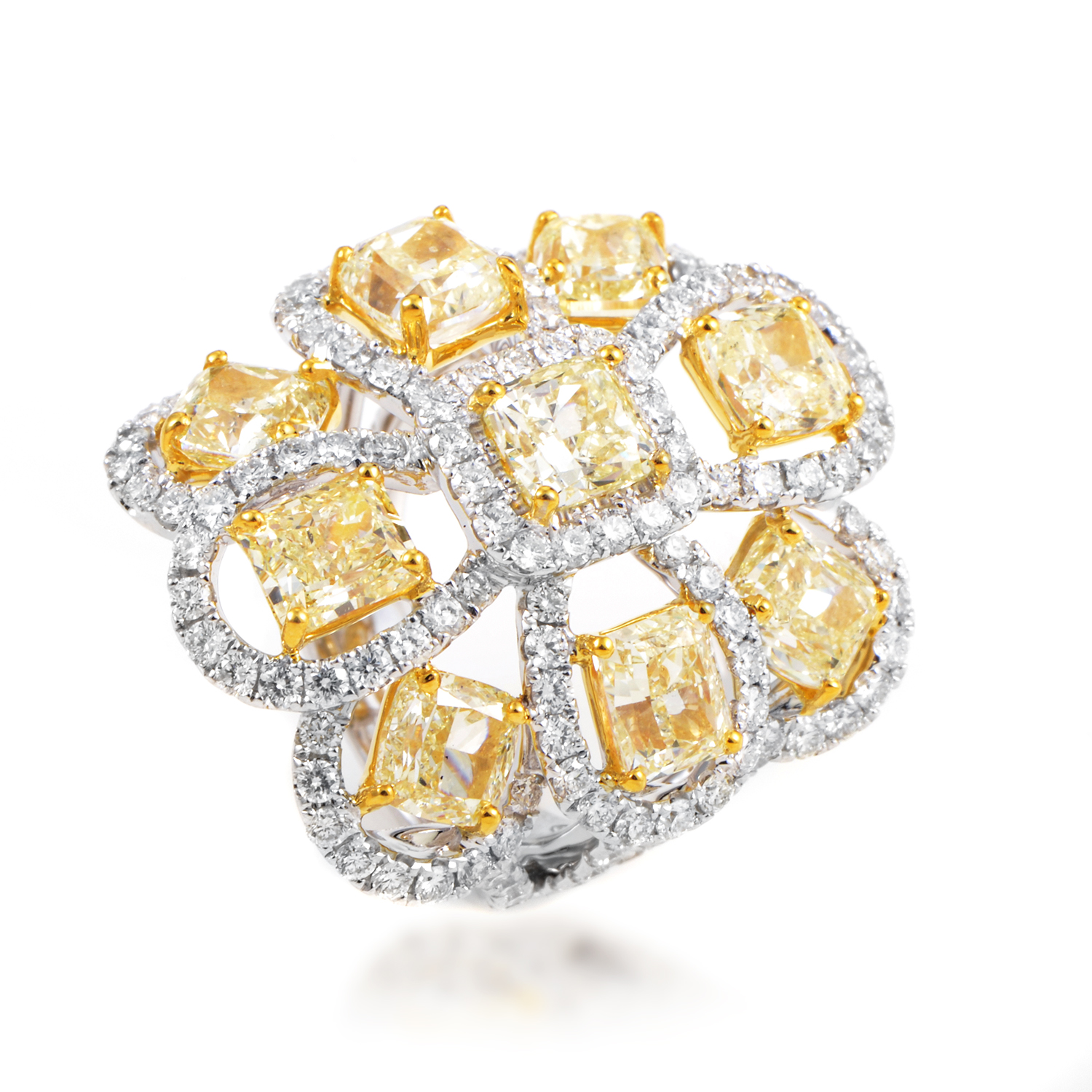 "Image of ""Odelia 18K Multi-Tone Gold Diamond Cocktail Ring Size 6.75"""