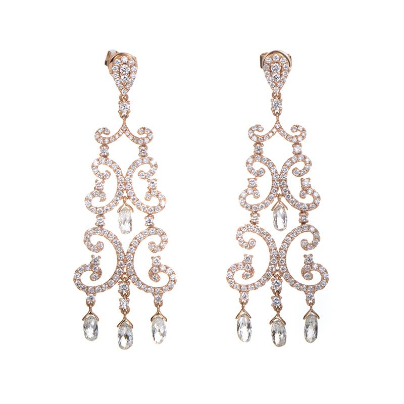 """Image of """"Odelia 18K Rose Gold Diamond Chandelier Earrings"""""""