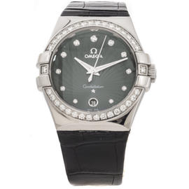 Omega Constellation 123.18.35.60.56.001 Leather Strap Womens Watch