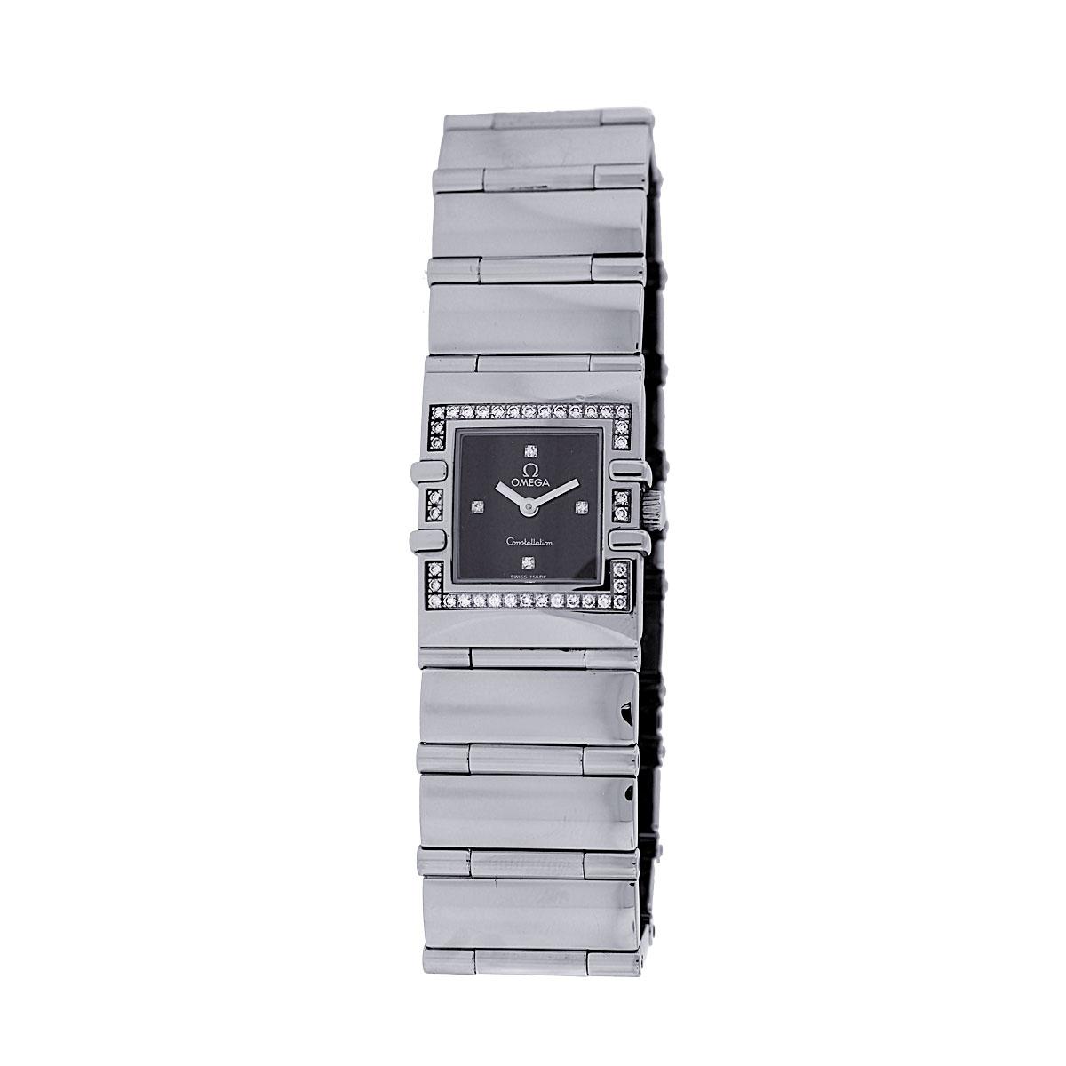 "Image of ""Omega Constellation Stainless Steel Diamond Bezel Black Dial 22mm"""