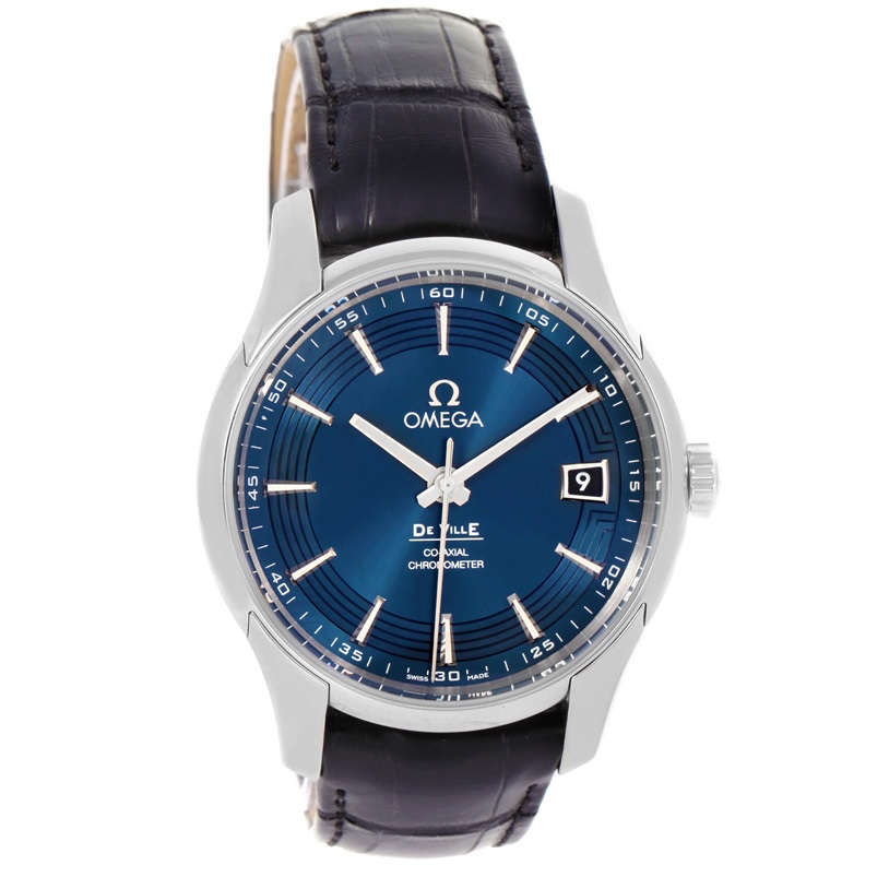 """Image of """"Omega DeVille 431.33.41.21.03.001 Stainless Steel & Leather Blue Dial"""""""