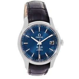 Omega DeVille 431.33.41.21.03.001 Stainless Steel & Leather Blue Dial Automatic 41mm Mens Watch