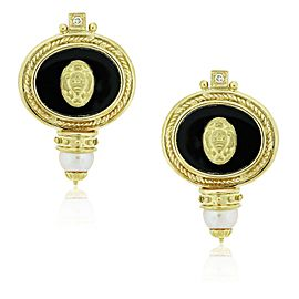 YELLOW GOLD ONYX PEARL AND DIAMOND SIGNET EARRINGS