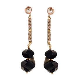 David Yurman Sterling Silver & 18K Yellow Gold Black Onyx Drop Earrings