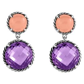 David Yurman Sterling Silver Amethyst & Guava Quartz Chatelaine Drop Earrings