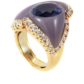 Oro Trend 18K Rose Gold Lolite and Purple Jade Ring
