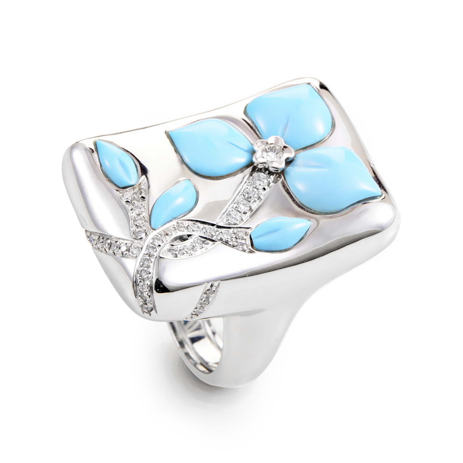 "Image of ""Oro Trend 18K White Gold Diamond & Turquoise Flower Ring"""