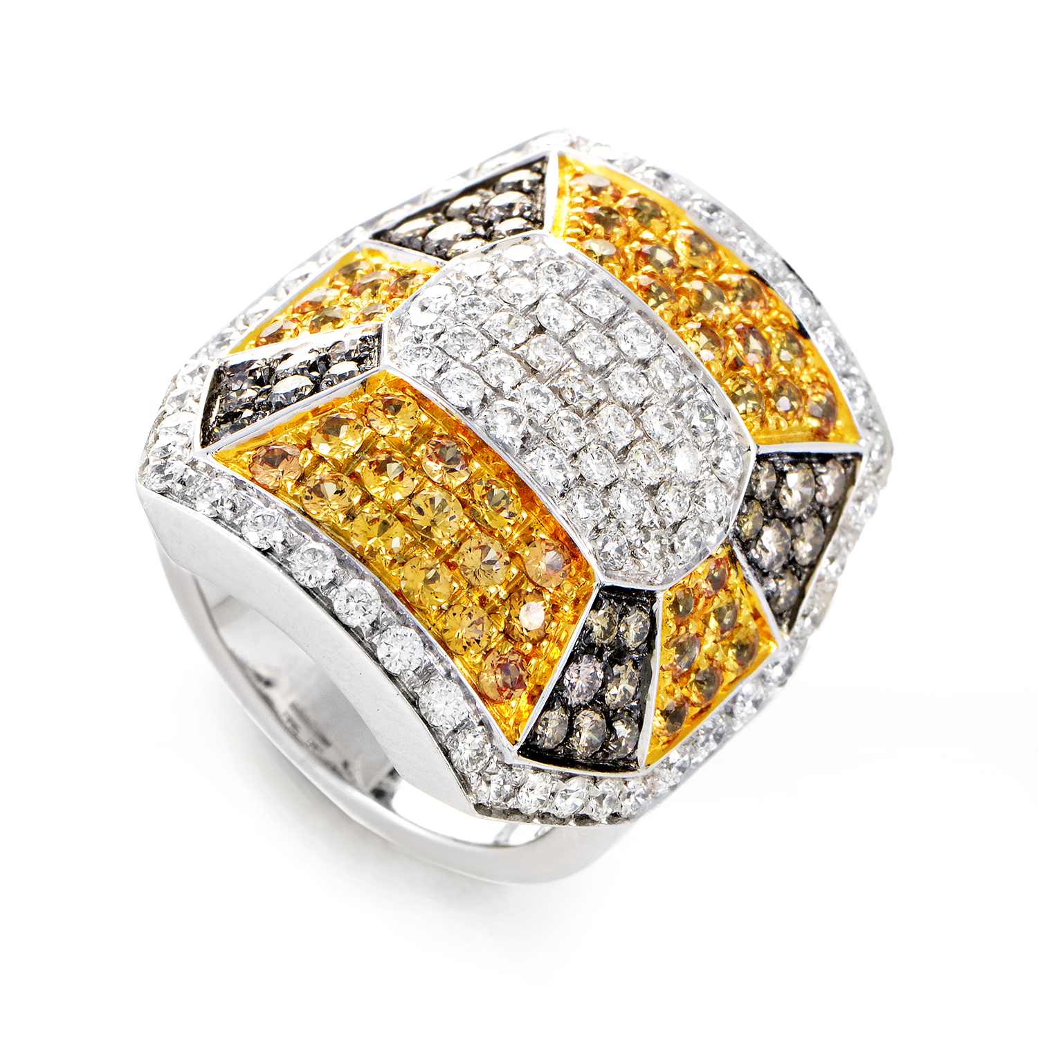 "Image of ""Oro Trend 18K White Gold Diamond & Yellow Sapphire Ring"""