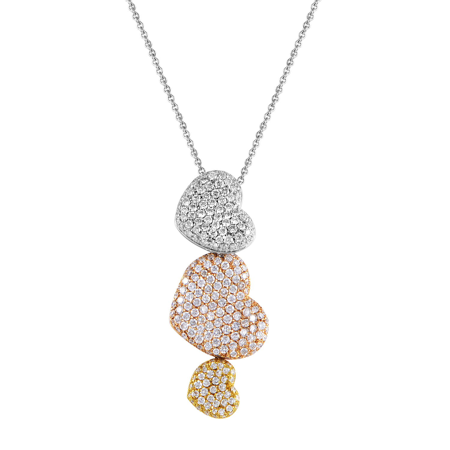 "Image of ""Orovoque 18K Tri-Gold Diamond Pave Hearts Pendant Necklace"""