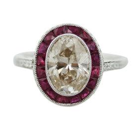Platinum 2.23ct Diamond & 0.74ct Ruby Engagement Ring Size 6.5