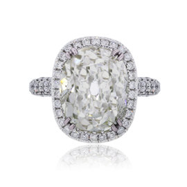18K White Gold 11.59ct Diamond Halo Engagement Ring Size 6.75