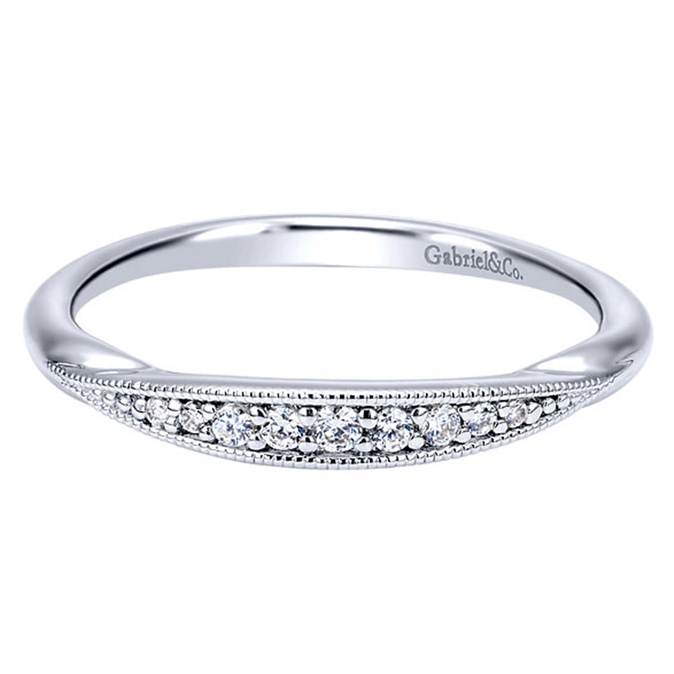 "Image of ""Gabriel & Co. 14K White Gold 0.08ct Diamond Wedding Band Ring Size 6.5"""