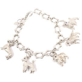 Tiffany & Co. 925 Sterling Silver Blue Sapphire Eyes Dog Charm Bracelet