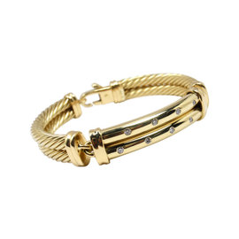 David Yurman 18K Yellow Gold & Diamond Bracelet