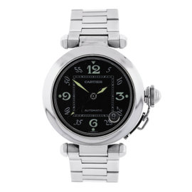 Cartier Pasha C Black Dial Stainless Steel Mens Watch 35mm